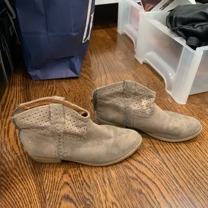 Brown suede low boots size 7